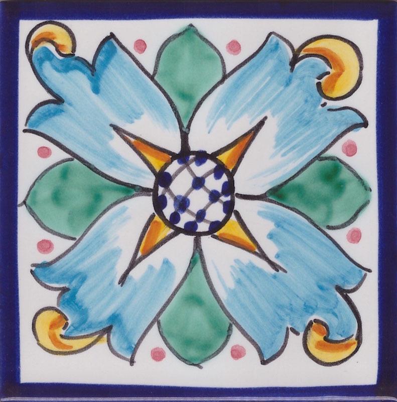 Piastrelle Vietresi per bagno decorato bianco e blu