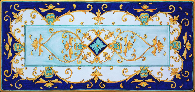 Tavolo vietrese piano in lavica ceramizzato barocco blu - Piastrelle pietra lavica ...