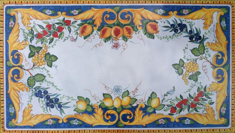 Tavolo vietrese piano in pietra lavica barocco frutta di for Piastrelle cucina 15x15
