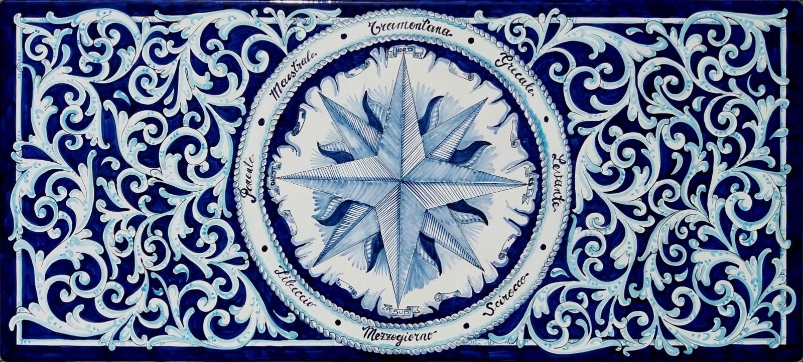 Tavolo Vietrese Piano In Pietra Lavica Ceramiche Di