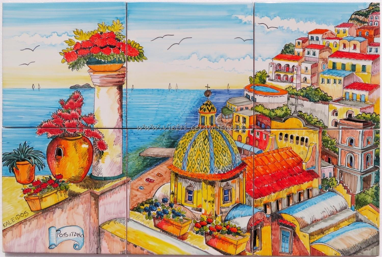 Pannello murale positano cm ceramiche di vietri kaleidos