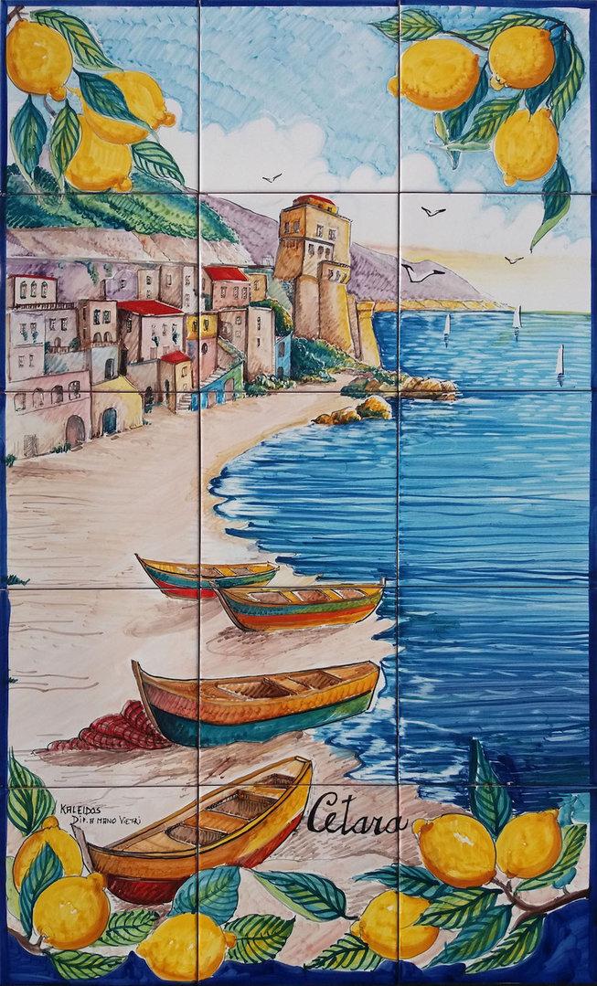 Pannello Murale Spiaggia Di Cetara 60x100 Cm Ceramiche