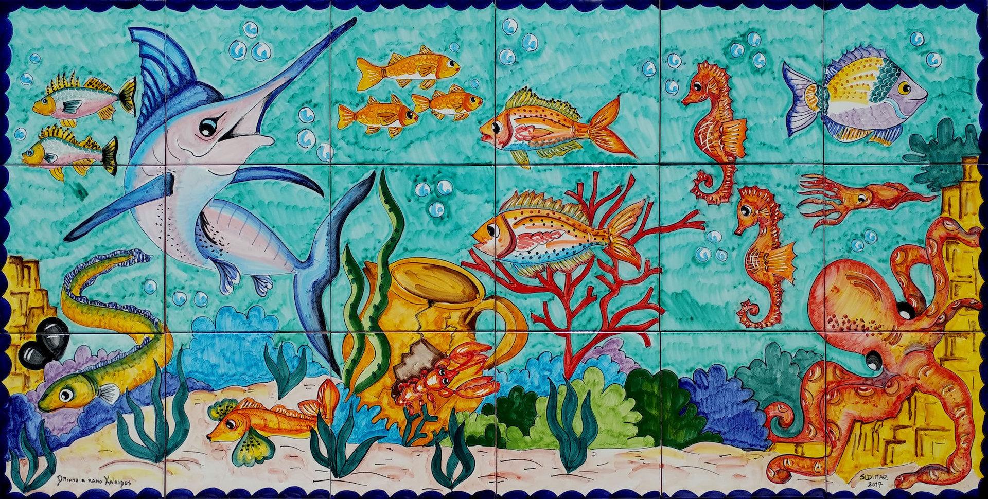 Pesce spada fondale marino vietri 120x60 cm ceramiche di for Tavolo cucina 120x60