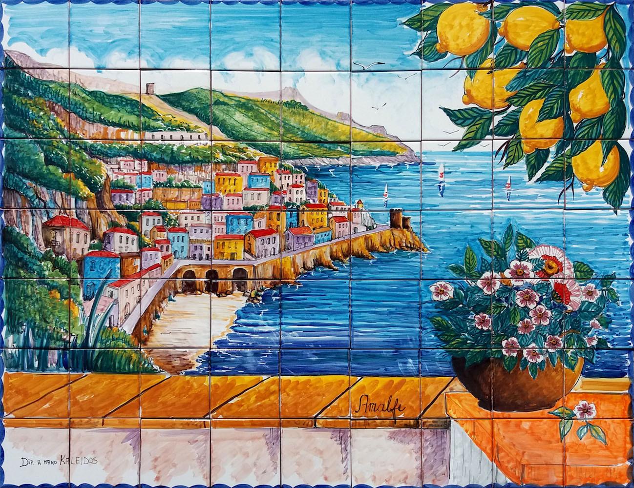 Mosaico veduta della costiera amalfi 90x70 cm ceramiche - Ceramiche di vietri piastrelle ...