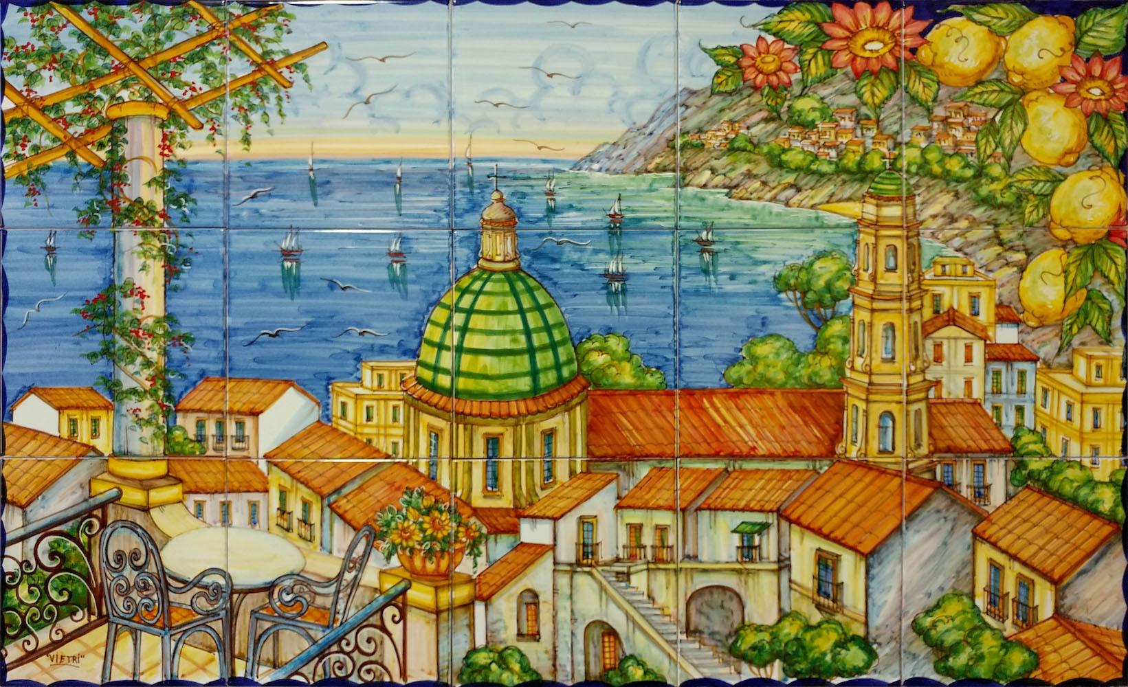 Pannello artistico vietri sul mare 100x60 cm ceramiche for Mosaico ceramica