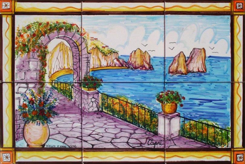 Pannello murale capri con cornice 60x40 cm ceramiche di vietri