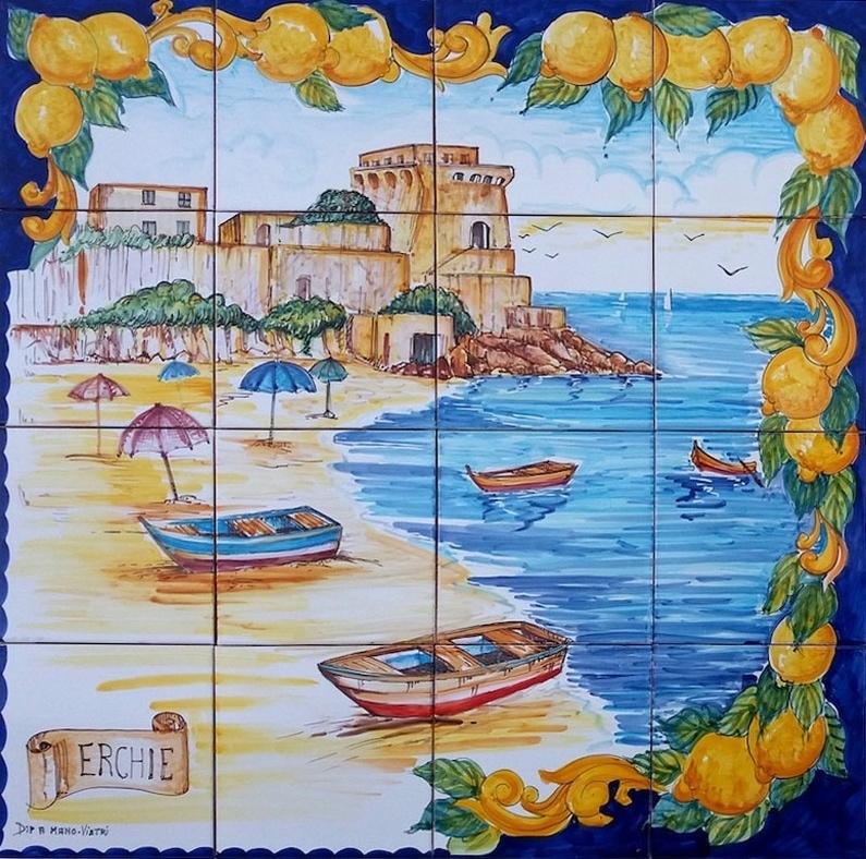 Pannello Murale Spiaggia Erchie 80x80 cm - Ceramiche di Vietri