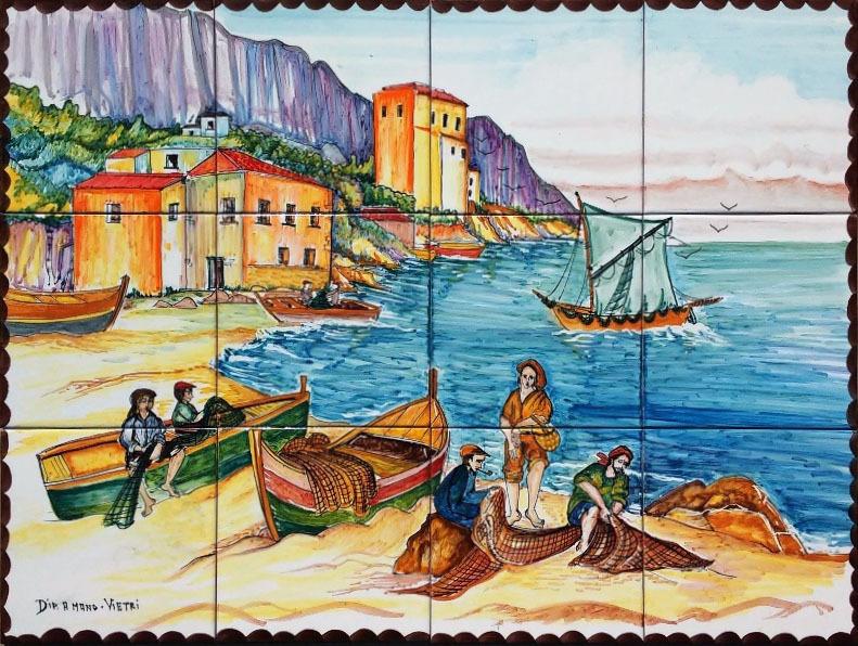 Pannello murale pescatori a cetara 80x60 cm ceramiche di for Piastrelle cucina disegnate