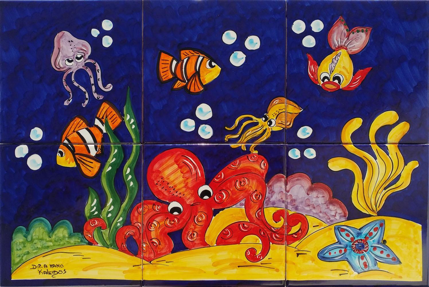Pannello Ceramica Vietrese Fondale Marino Blu 60x40 Cm