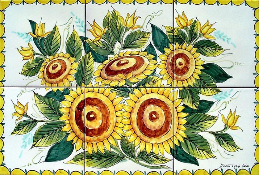 Pannello murale in ceramica girasoli cm ceramiche vietri