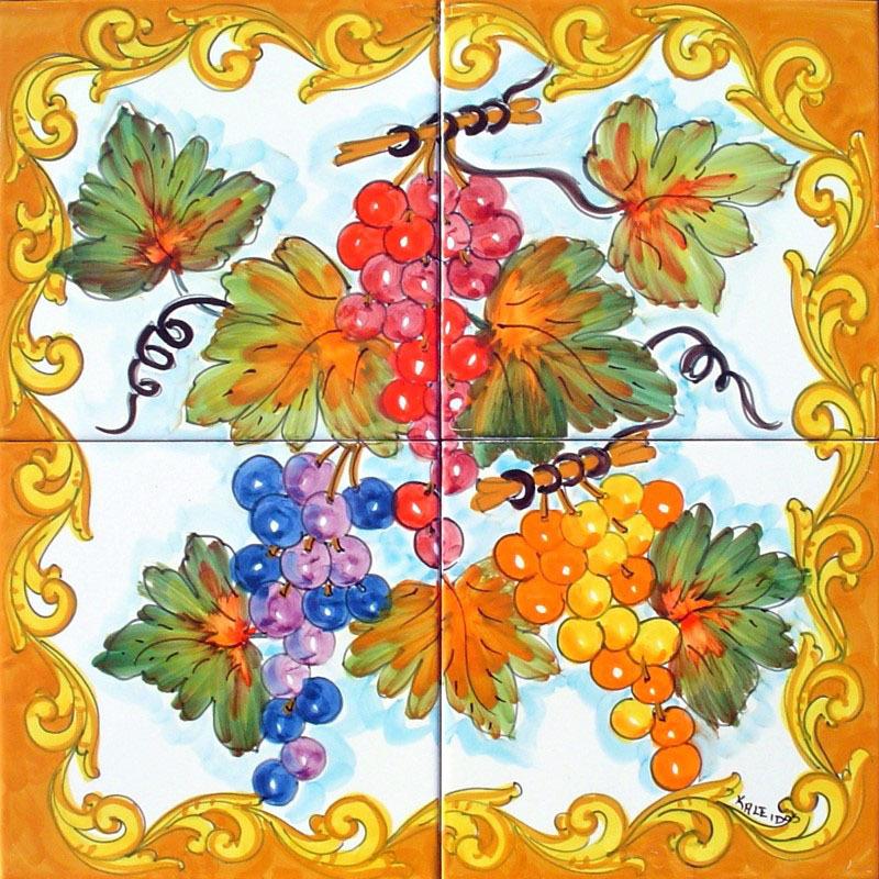Pannello murale in ceramica uva barocco 40x40 cm ceramiche k - Mattonelle in ceramica decorate ...