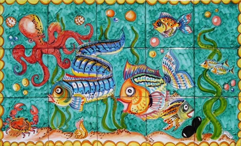 Pannello in ceramica fondale marino vietrese 100x60 cm for Pesci per laghetti esterni
