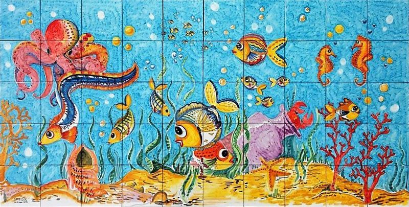 Pannello Mosaico Fondale Marino Polpo 200x100 Cm Ceramiche K
