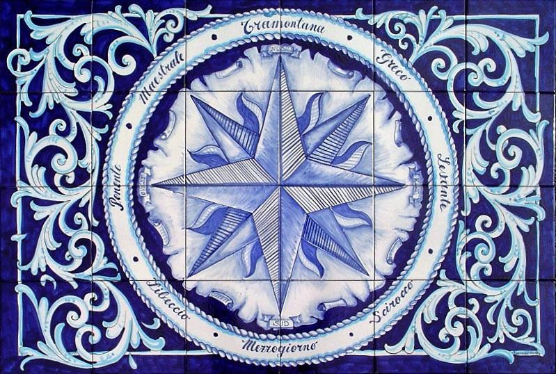 Pannello in ceramica rosa dei venti blu 120x80 cm ceramiche k