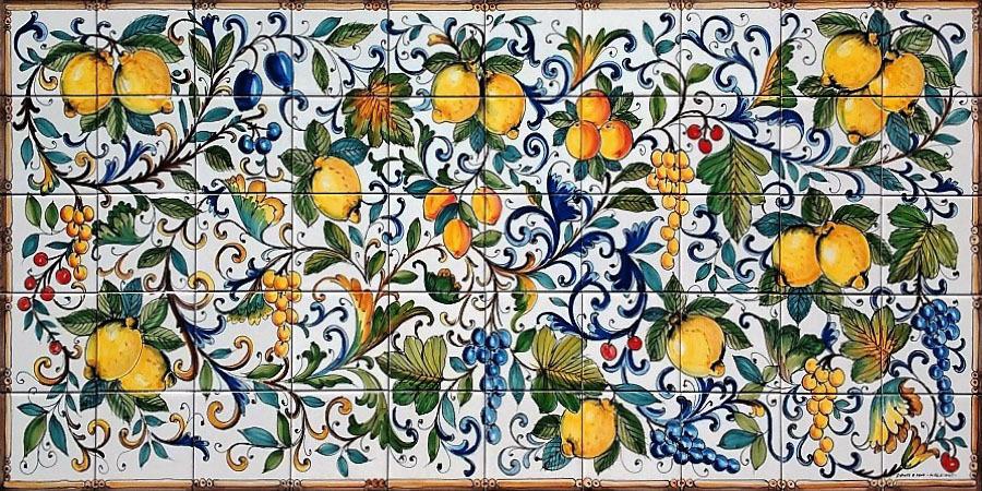 Pannello Mosaico Limoni E Uva Praiano 200x100 Cm Ceramiche