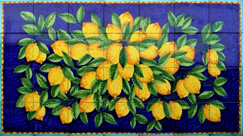Pannello mosaico blu limoni costa damalfi 140x80 cm ceramiche