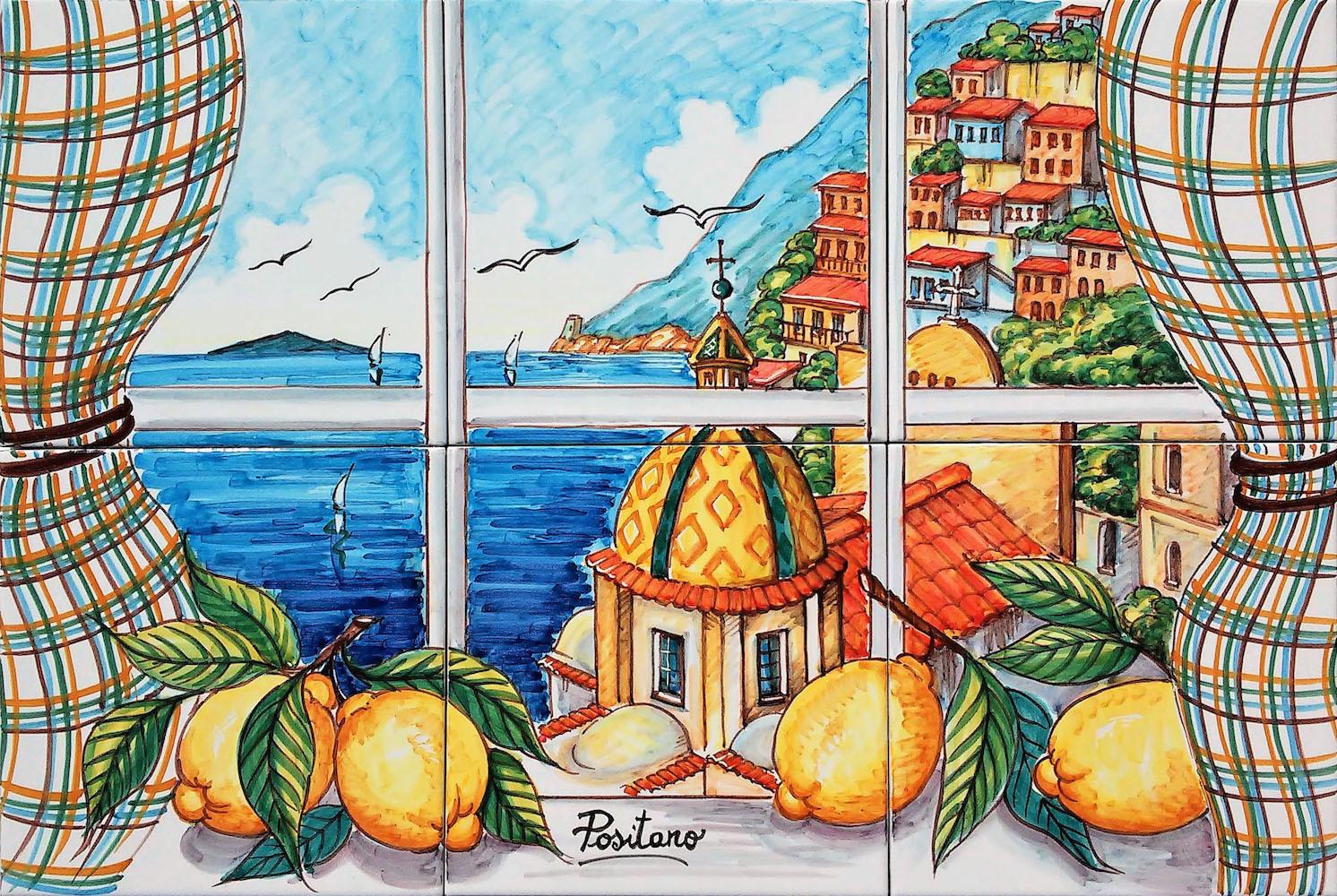 Pannello In Ceramica Finestra Vista Su Positano 60x40 Cm