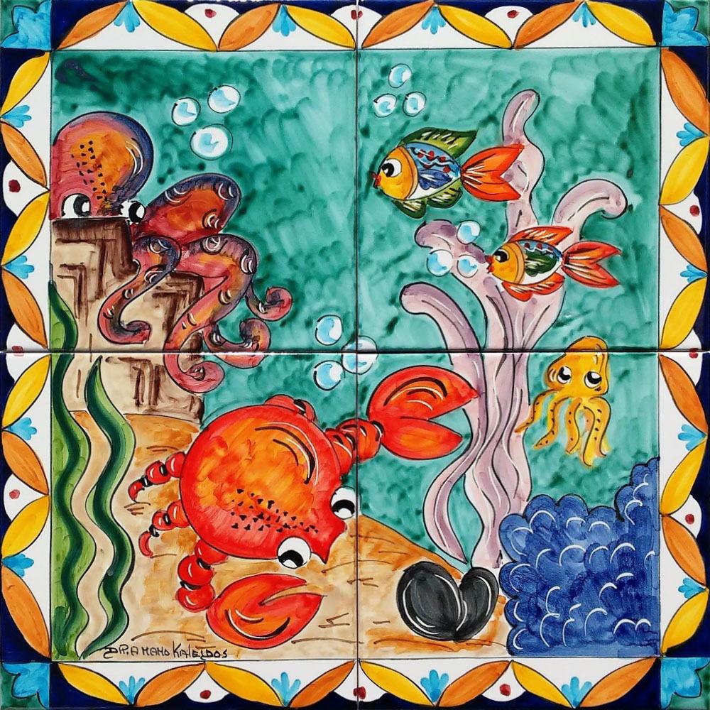 Pannello In Ceramica Polpo E Granchio Fondale Marino 40x40