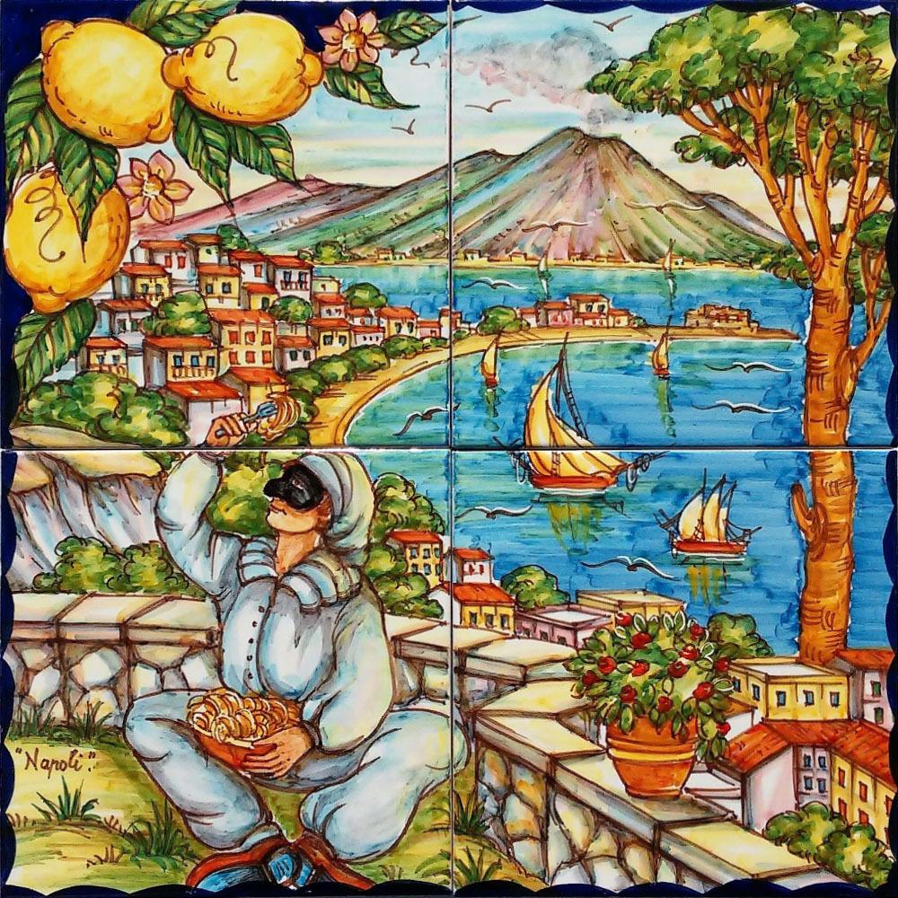 Pannello artistico golfo di napoli e pulcinella 40x40cm for O giardino di pulcinella roma