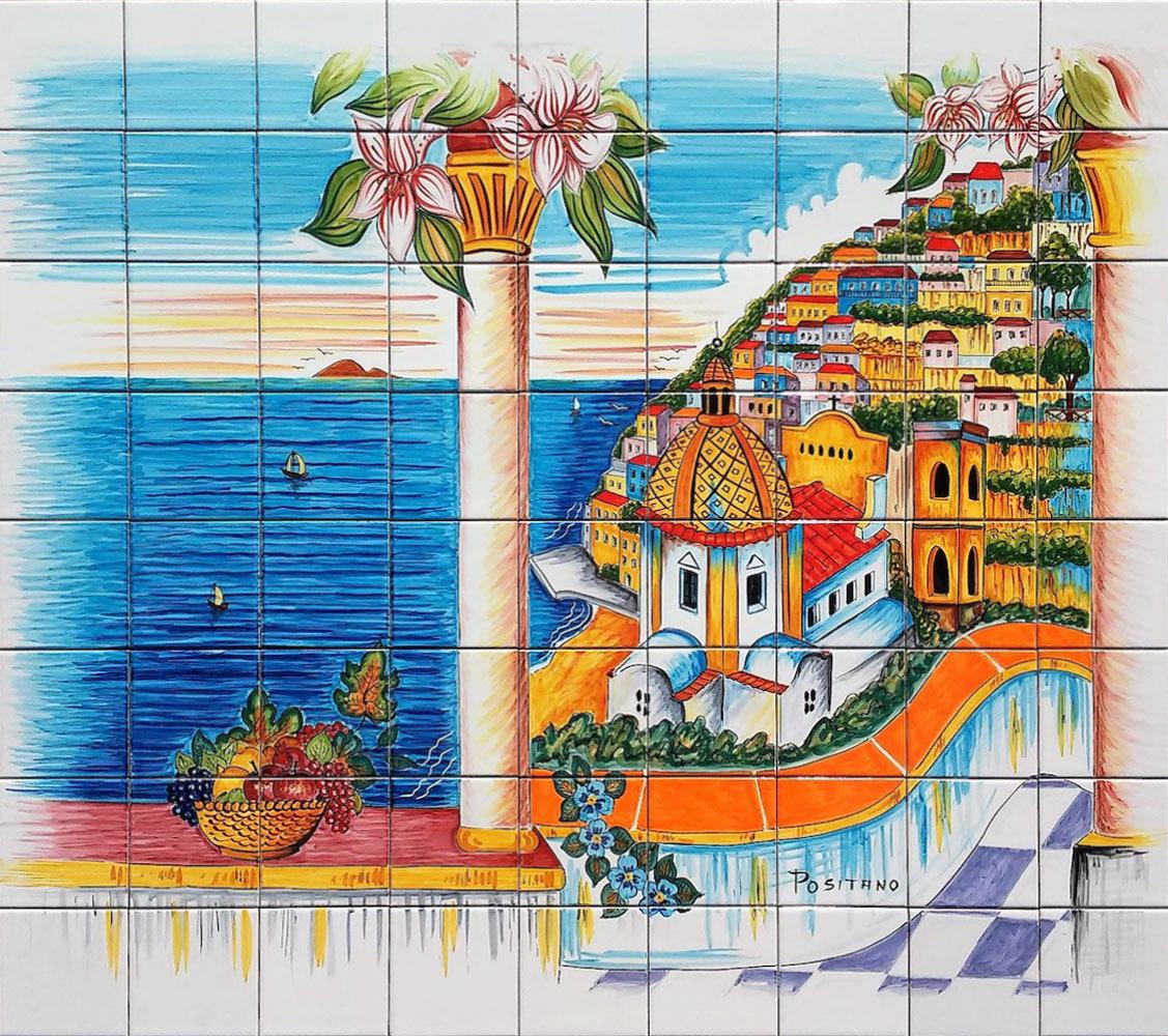 Pannello a mosaico veduta di positano 90x80 cm ceramiche for Piastrelle cucina 15x15