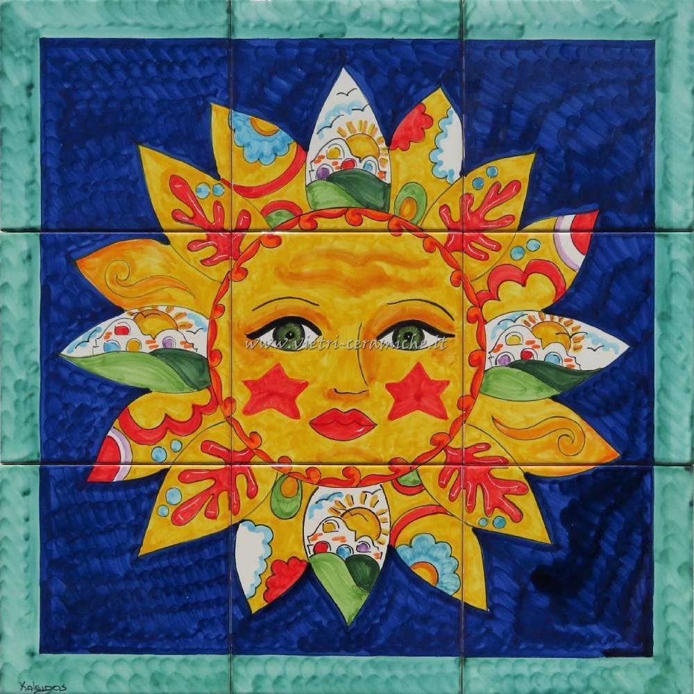 Pannello Murale in Ceramica Nuovo Sole Vietrese Blu 60x60 cm