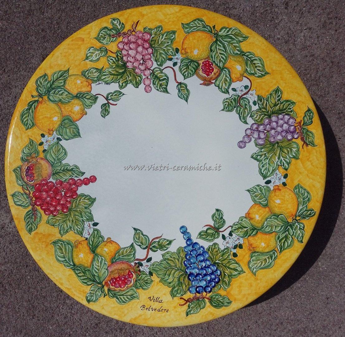 Tavoli Da Giardino Pietra Lavica.Tavolo Da Giardino Uva E Limoni In Ceramiche Di Vietri Kaleidos
