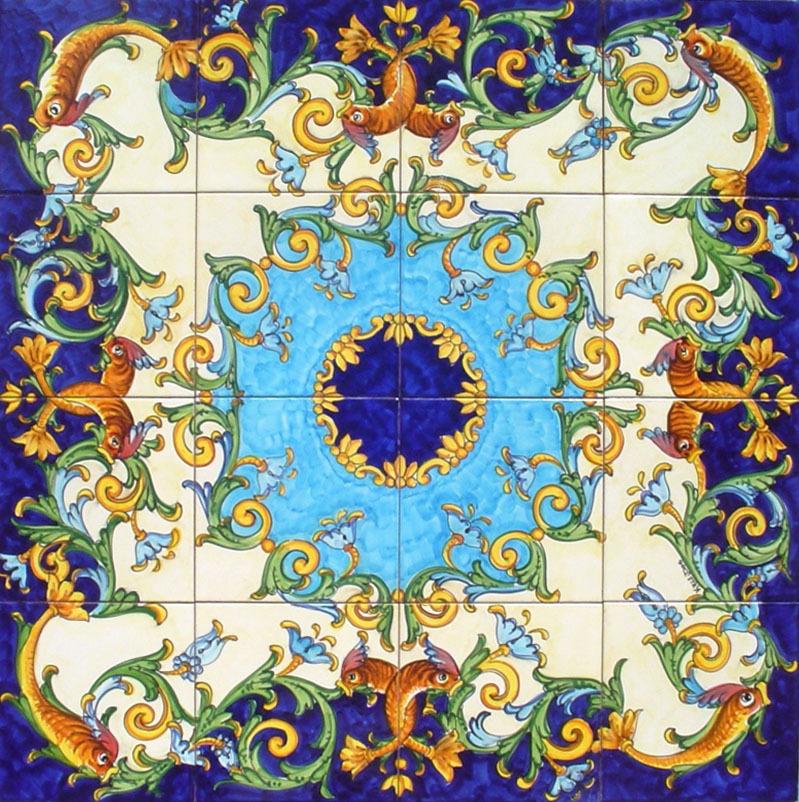 Pannello mosaico nuovo barocco vietri 80x80 cm ceramiche vietri - Ceramiche di vietri piastrelle ...