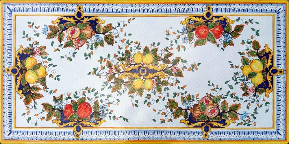 Piano Tavolo Fiori e Frutta Amalfi 200x90 cm- Ceramiche di Vietri