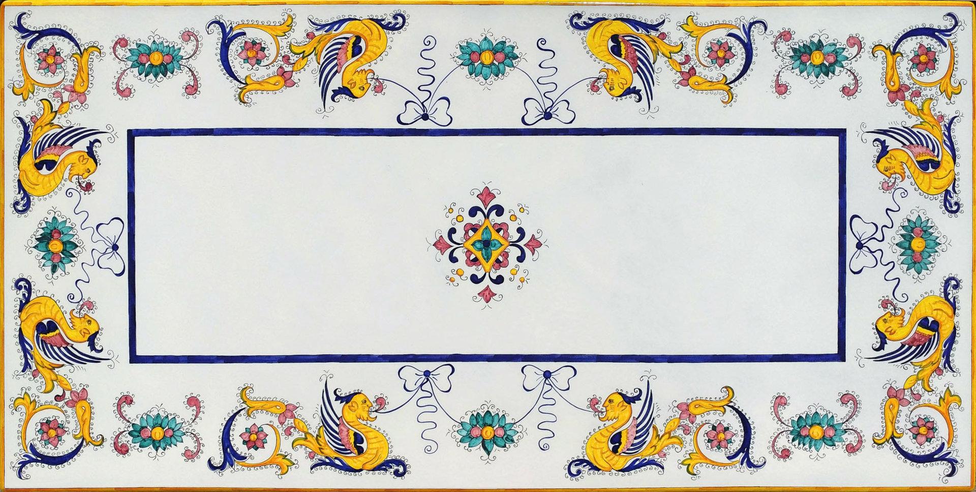 Tavolo in pietra lavica Deruta Raffaellesco 200x90 con base in Ferro Battuto