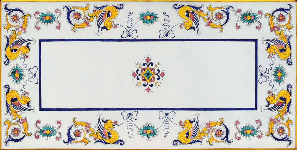 Tavolo in pietra lavica Deruta Raffaellesco