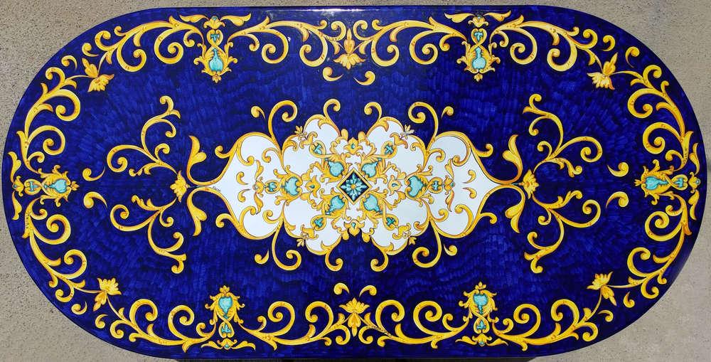 Tavoli In Pietra Lavica Prezzi.Tavolo Vietrese Piano In Pietra Lavica Ovale Blu Barocco