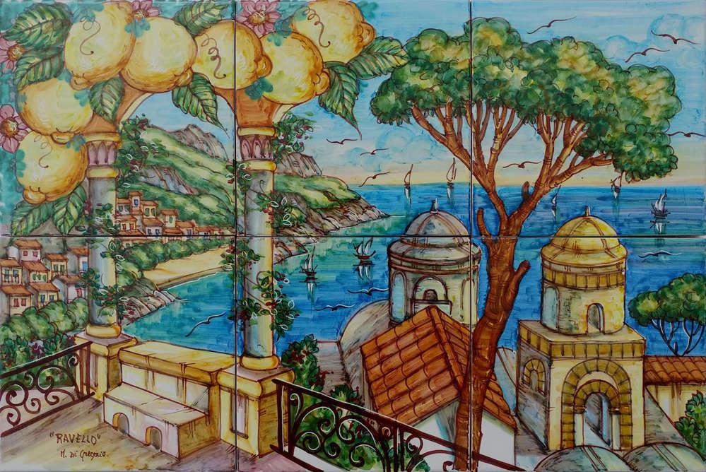 Pannello murale ravello con limoni 60x40 cm ceramiche di vietri