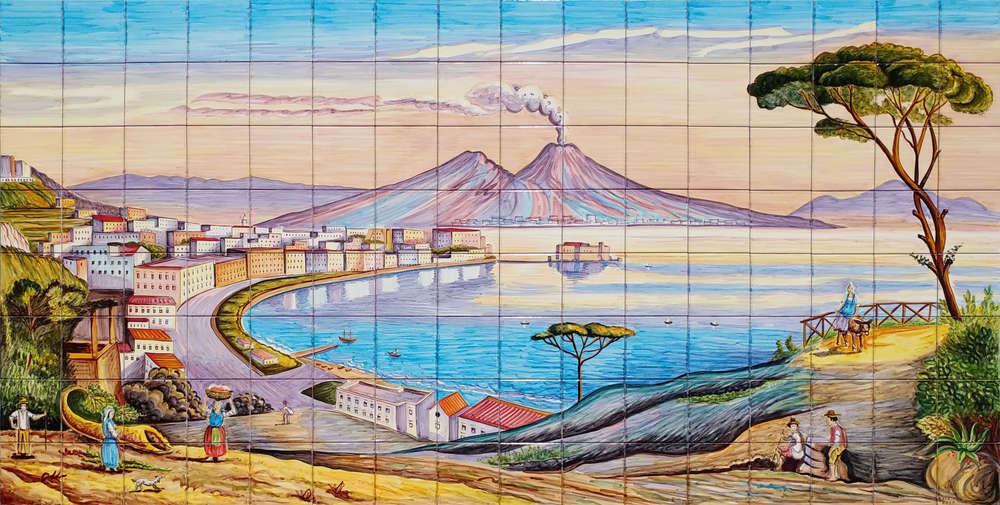Napoli antica golfo e vesuvio 160x80 cm ceramiche di vietri