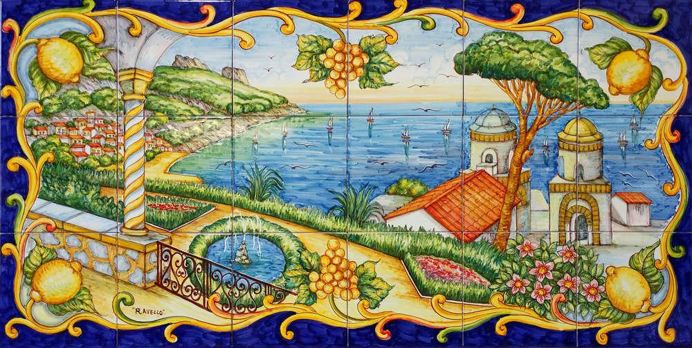 Pannello murale in ceramica ravello con barocco cm vietri