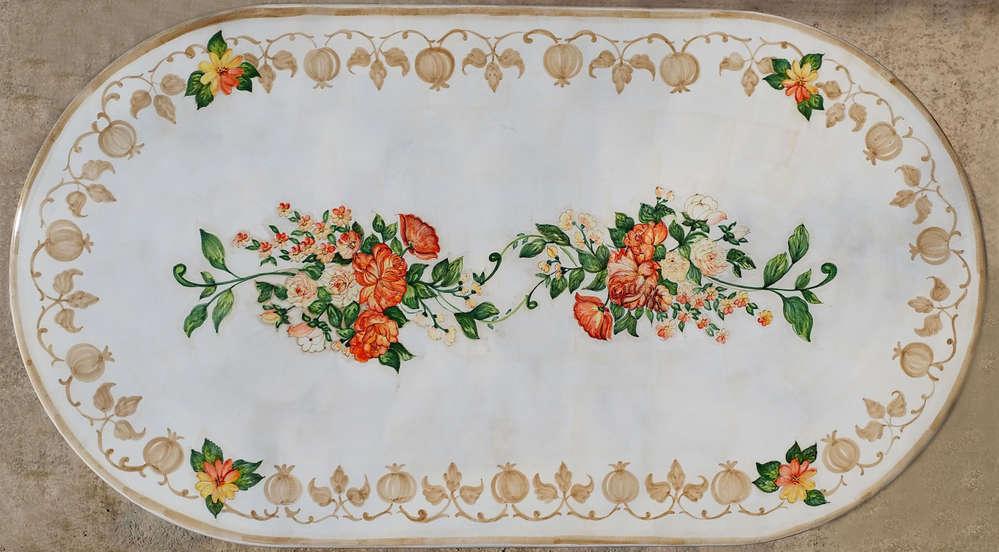 Tavolo di vietri in pietra lavica ovale con rose