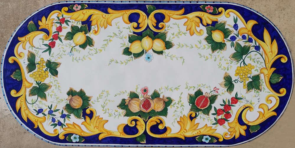 Tavoli In Pietra Lavica Prezzi.Ceramiche Tavolo In Pietra Lavica Ovale Frutta E Barocco