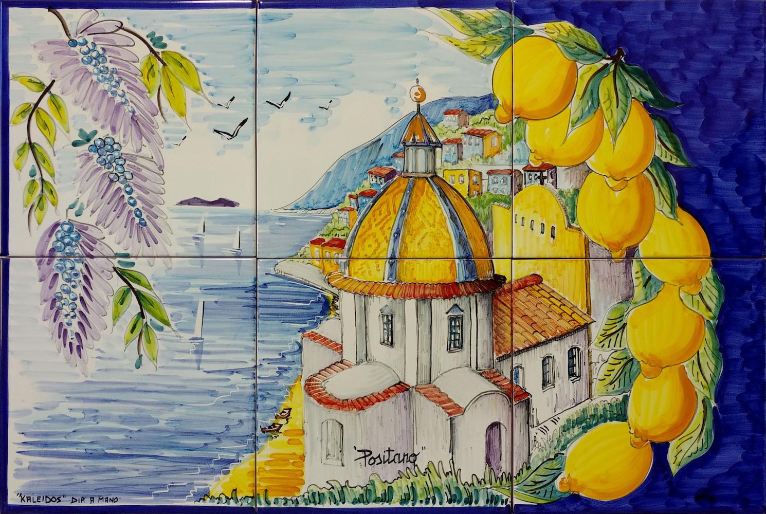 Vietri ceramiche pannello a mosaico in ceramica positano con limoni