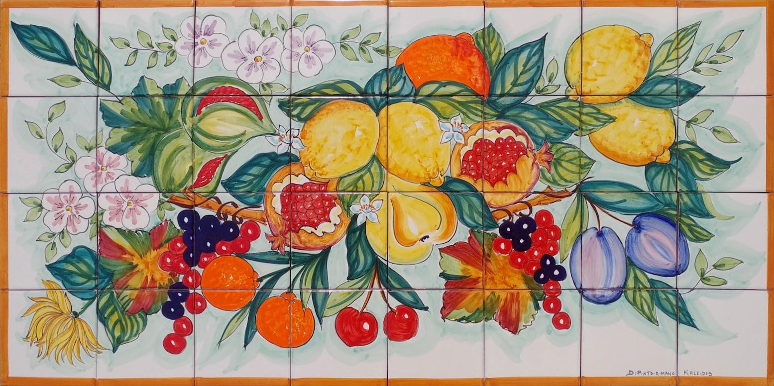 Pannello mosaico in ceramica vietrese con frutta 80x40 cm for Piastrelle mosaico per cucina