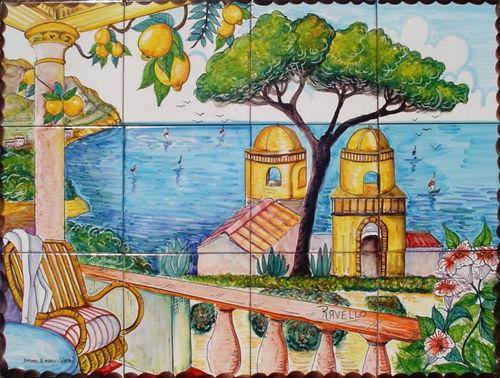 Pannello mosaico vedute e paesaggi della costiera ceramiche di