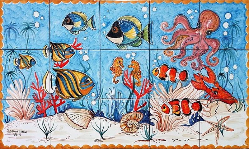 Pannello fondale vietri con pesci polpo granchio 100x60 for Pesci per laghetti esterni