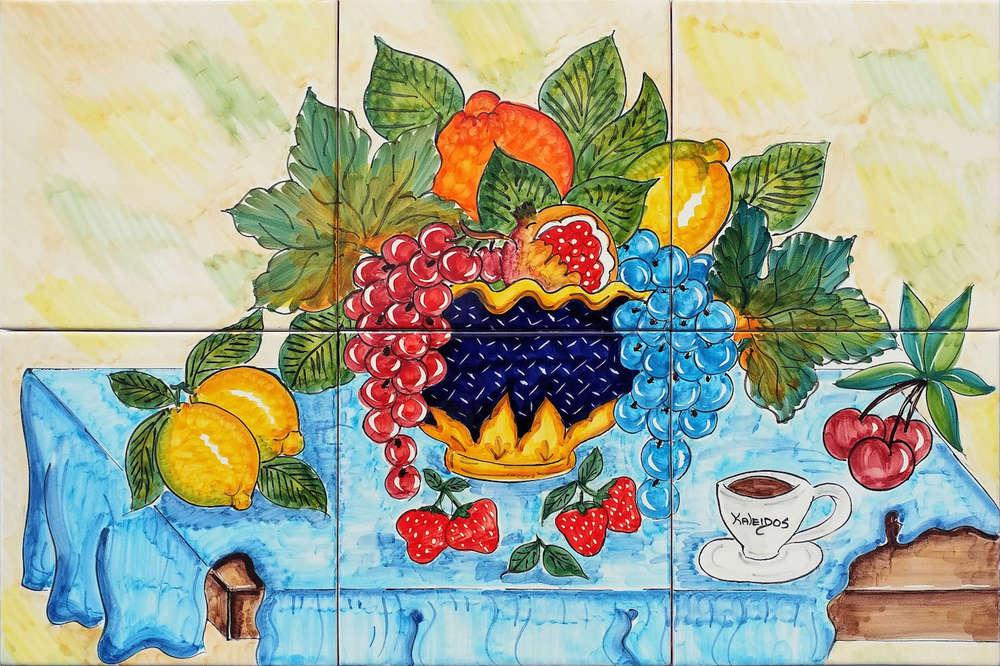 Pannello in ceramica tavola vietrese con frutta cm cucina