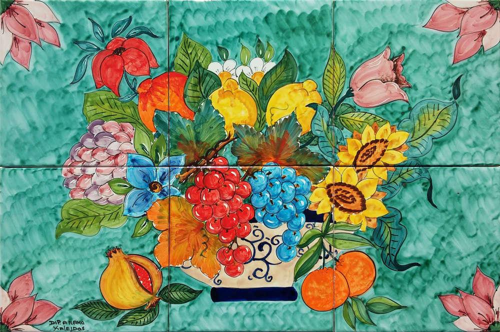 Pannello in ceramica vaso frutta e fiori di campo cm vietri