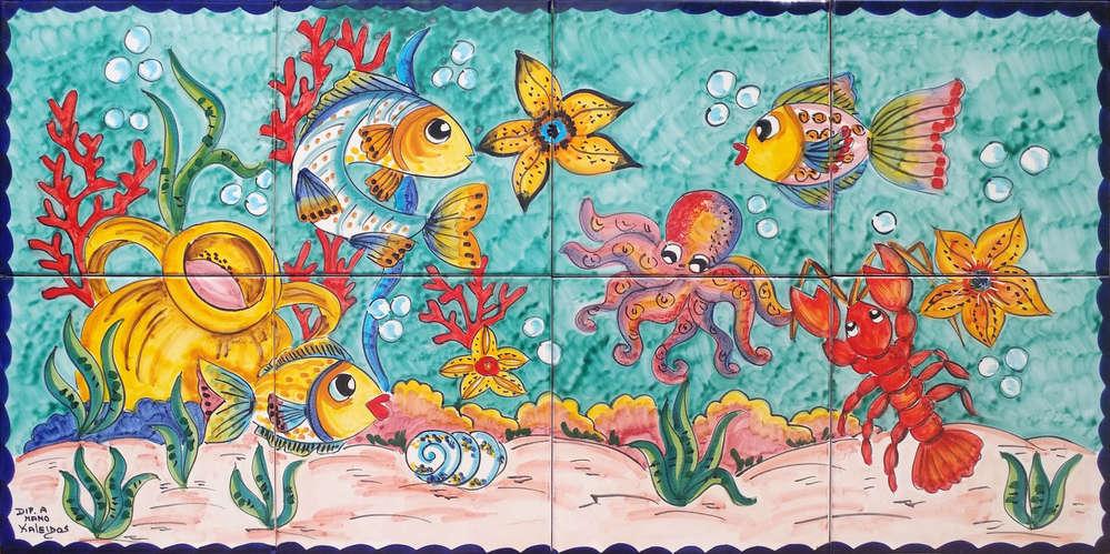 Ceramica Vietri Acquario Dipinto Con Colori Vivaci E Splendenti