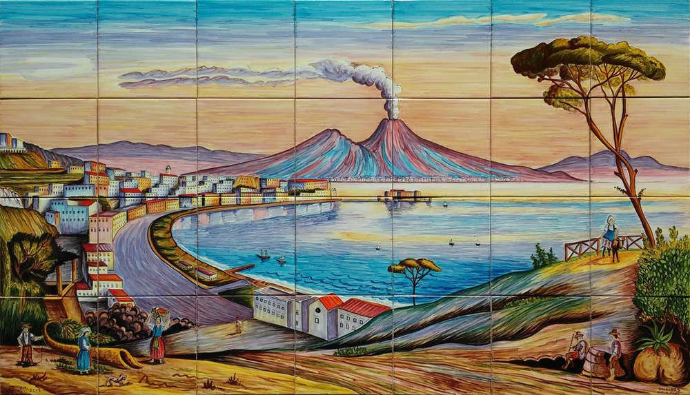 Pannello in ceramica veduta antica del golfo di napoli murales