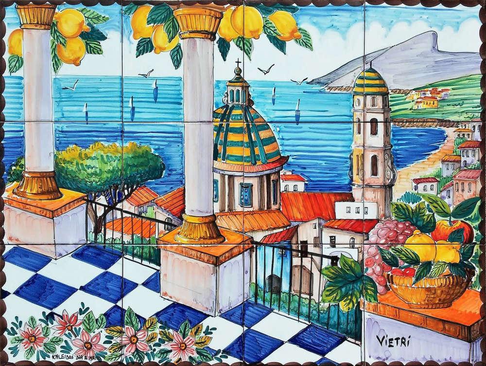 Pannello murale in ceramica veduta balconata di vietri cm