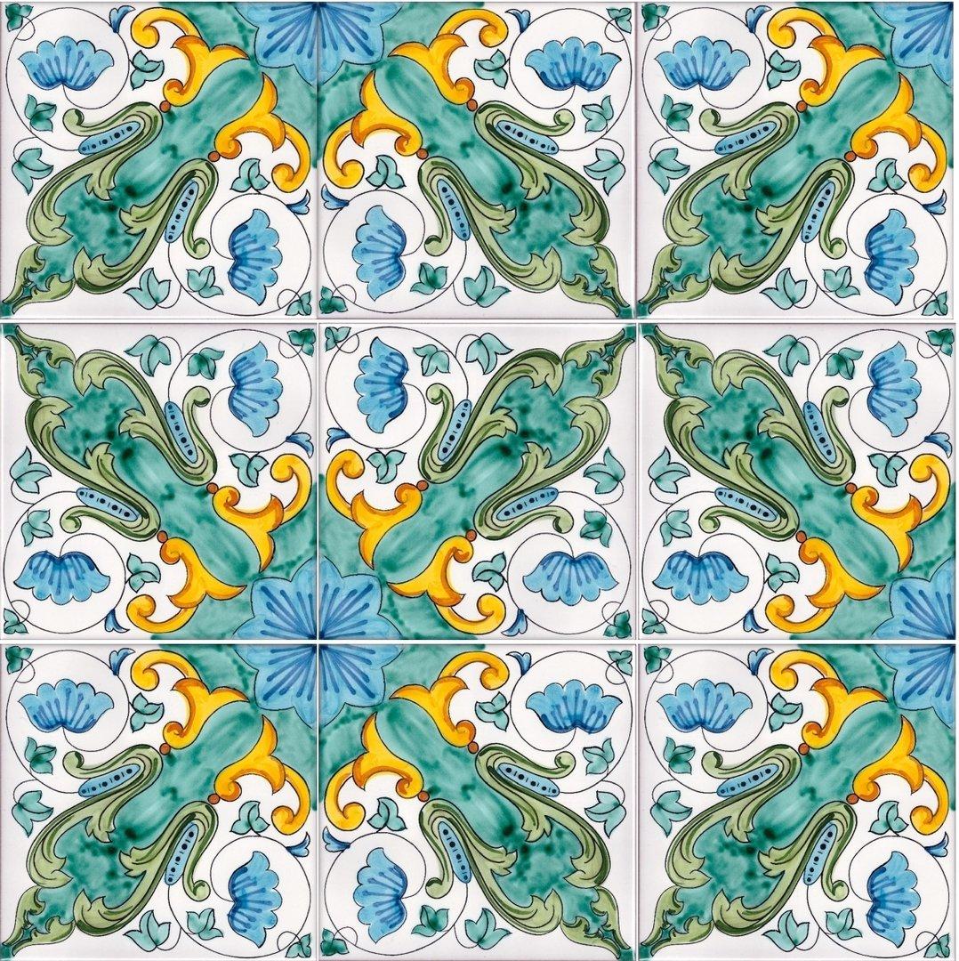 Decorazioni murali mosaico ceramica vietrese - Piastrelle decorate per pavimenti ...