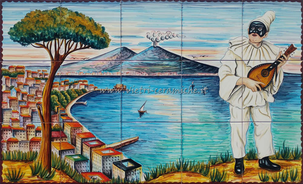 Napoli pulcinella con mandolino bellissimo quadro vietrese kaleidos