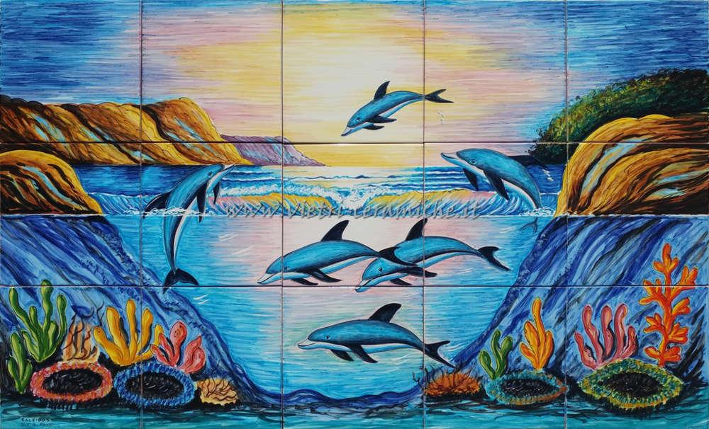 Pannello murale vietrese rettangolare delfini blu100x60 cm vietri