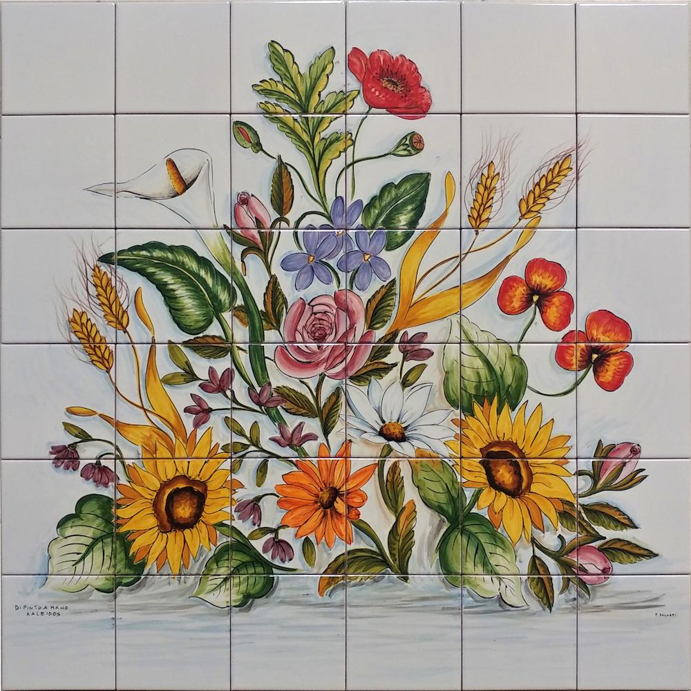 Piastrelle Cucina Con Mosaico.Pannello Mosaico Quadrato Fiori Di Vietri 60x60 Cm