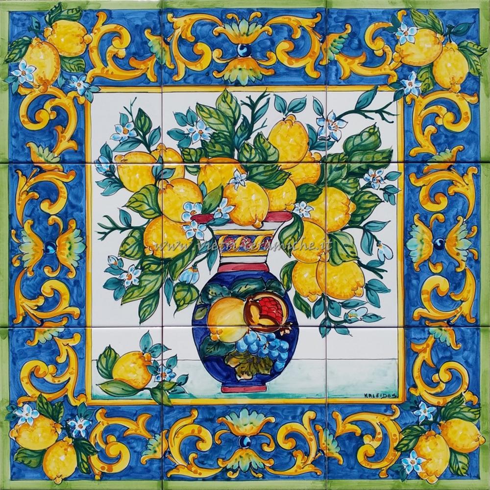 Vasi In Ceramica Di Vietri.Pannello Ceramica Vietrese Vaso Con Fiori Barocco 60x60 Cm Vietri
